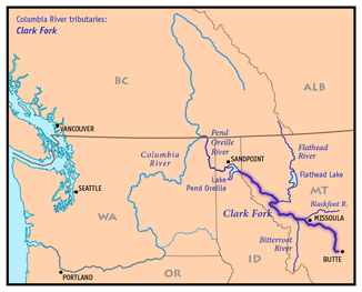 Map of the Clark Fork with its tributaries and its mouth