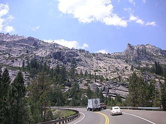 U.S. Route 50 in California - Westbound at the bottom of the 1947 grade to Echo Summit