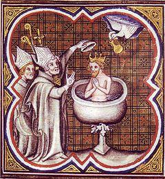 Clovis riceve dalla colomba (spirito santo) la santa crema