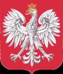 Godło Polski umieszczone w tarczy, według wzoru i kolorystyki zgodnych z ustawą