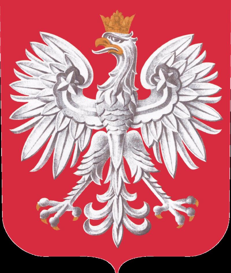 Godło Polski umieszczone w tarczy, według wzoru i kolorystyki zgodnych z obowiązującą ustawą