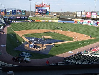 Minor League Baseball - Coca-Cola Park in Allentown, Pennsylvania, home of the Lehigh Valley IronPigs, the Triple-A affiliate of the Philadelphia Phillies