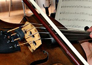 Col legno - A viola being played col legno.