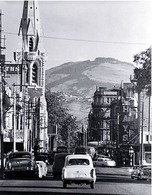 Colombo Street - Colombo Street in 1960 looking south, with the tower of ChristChurch Cathedral visible in ChristChurch Cathedral