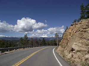Colorado State Highway 72 - View of Continental Divide from State Highway 72 west of Wondervu