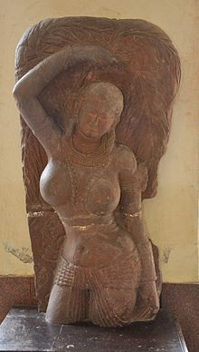 Colossal Yakshi Standing under Ashoka Tree - Kushan Period - Vrindaban - ACCN 40-2888 - Government Museum - Mathura 2013-02-23 5068.JPG