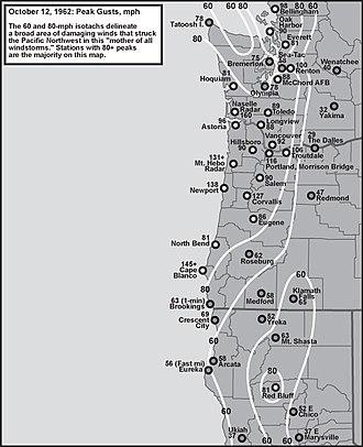 Columbus Day Storm of 1962 - Image: Columbus Day Storm Peak Gust Map