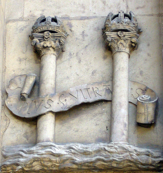 "The Pillars of Hercules with the motto ""Plus Ultra"" (""further beyond"") as symbol of the Holy Roman Emperor Charles V in the town hall of Seville (16th century). The Pillars of Hercules were the traditional limits of European exploration into the Atlantic. The most common hypothesis of the origin of the Dollar sign. Columnas Plus Ultra.png"