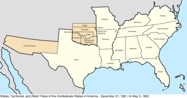 Confederate States Map List of C.S. states by date of admission to the Confederacy