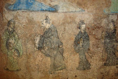 Confucius and Laozi, fresco from a Western Han tomb of Dongping County, Shandong province, China