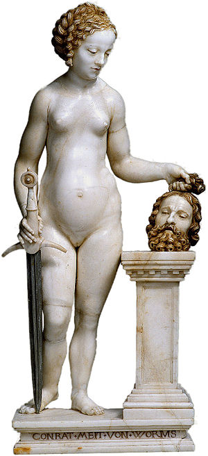 Conrad Meit - Judith with the Head of Holophernes, c.1525 (alabaster); unusually, this is signed on the base.