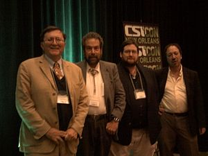 Ted Goertzel - Goertzel (left) with Dave Thomas, Bob Blaskiewicz and Scott Lilienfeld at the CSICon 2011 conspiracy theories panel.