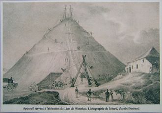 Marcellin Jobard - The erection of the lion's mound in Waterloo, 1825. Engraving by Jobard after Bertrand drawing.