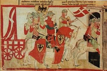 Frederick II leads the captured Carroccio to Cremona, (illustration in a manuscript from the 14th century)