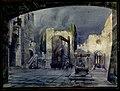 Cortile d'un antico castello, bozzetto di Cesare Fratino per L'Ombra di Don Giovanni (1914) - Archivio Storico Ricordi ICON009453.jpg