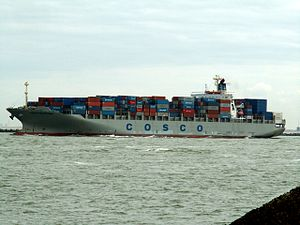 Cosco Felixtowe IMO 9246401, leaving Port of Rotterdam, Holland 17-Apr-2006.jpg
