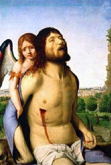 Cristo muerto sostenido por un ángel de Antonello da Messina.jpg