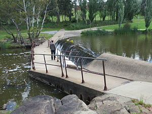 Yass River - Shared Pedestrian/Cycle walk way and weir across the Yass River in Riverbank Park, Yass
