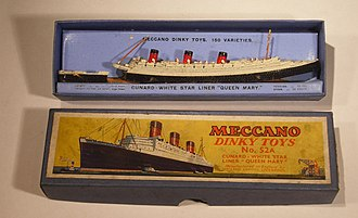 Dinky Toys - Dinky 52a Cunard White Star Line Queen Mary. The model has significant zinc pest decay.