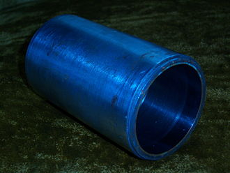 Edison Records - This is an example of a wax cylinder mold. Note the grooves on the inside and machined backup shell.