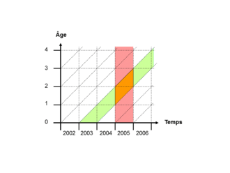 Lexis diagram - Lexis diagram showing the cohort of 2003-born persons in green, and the year 2005 in red