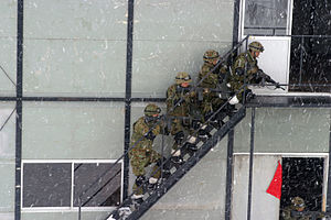 Urban warfare - JGSDF soldiers from 20th Infantry Regiment practice MOUT tactics in the Ojojibara Maneuver Area of Sendai, Japan during Exercise Forest Light 2004 with  U.S. Marines.
