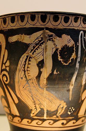 Maenad - Dancing maenad. Detail from an Ancient Greek Paestum red-figure skyphos, made by Python, ca. 330-320 BC. British Museum, London