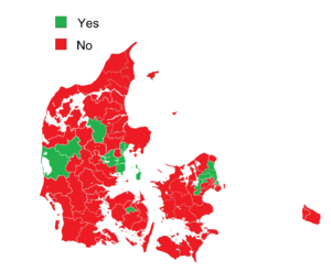 Danish European Union opt-out referendum, 2015 - Image: Danish European Union opt out referendum result by district, 2015