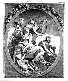 Front piece shows a Grecian woman lounging with nymphs about her, one of them holding a mirror.