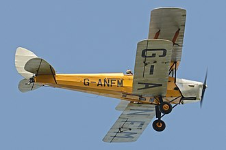 The Tiger Moth being flown in 2017. De Havilland DH.82A Tiger Moth 'G-ANFM' (26432361317).jpg