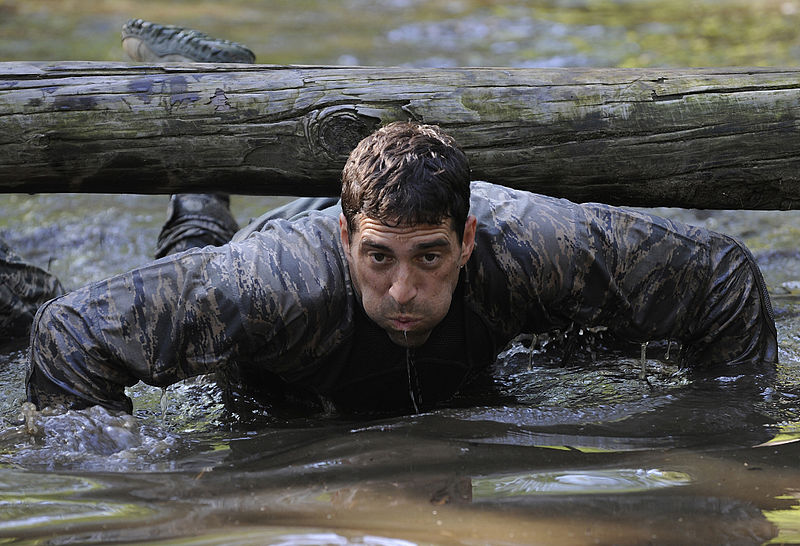 File:Defense.gov News Photo 120614-F-TR874-971 - U.S. Air Force Maj. Christopher Wright navigates through a water obstacle during a combat mission readiness evaluation the Pre-Ranger Course at Fort.jpg