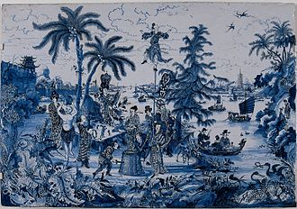 Christian Wolff (philosopher) - Delftware plaque with chinoiserie, 17th century