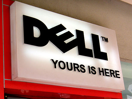 Dell's tagline 'Yours is Here', as seen at their Mall of Asia branch in Pasay City, Philippines Dell wiki.JPG