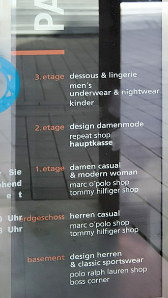 Denglisch - Mixed German, English and French in a German department store