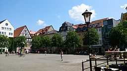 Der Marktplatz in Jena mit dem Hanfried Denkmal