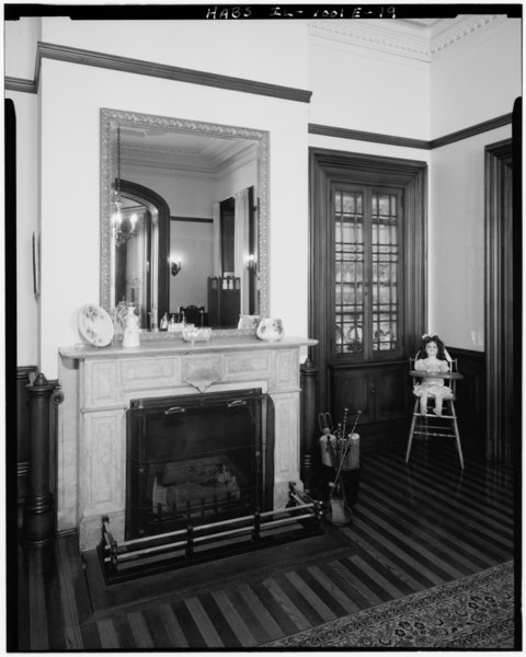 File:Detail view of dining room S wall, showing added built-in china case and fireplace. (Ryan) - Rock Island Arsenal, Building No. 1, Gillespie Avenue between Terrace Drive and HABS ILL,81-ROCIL,3-1-19.tif