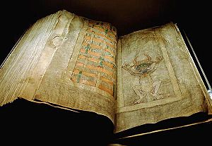 Codex Gigas - The Codex Gigas; the opening with the portrait of the devil