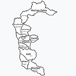 Map of Azad Kashmir with 10 districts