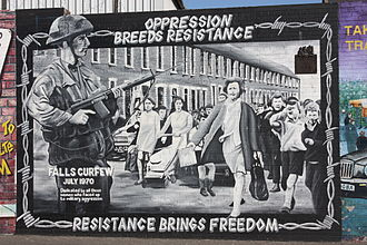 Falls Curfew - A mural depicting the march that broke through the curfew