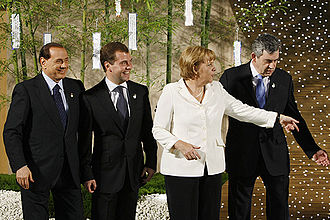 Policies of Silvio Berlusconi - From left to right: Silvio Berlusconi, Dmitry Medvedev, Angela Merkel, and Gordon Brown