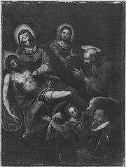 Beweinung Christi mit den hll. Johannes, Franziskus und einem Stifter (Werkstatt)