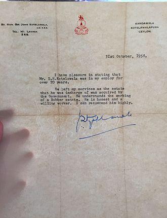 John Kotelawala - An Official Letter to Harry Kotelawala