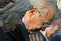 Donald H. Rumsfeld, the former Secretary of Defense, with his wife, Joyce, bow their heads during a moment of silence at 9-37 a.m. by the Pentagon Memorial in Arlington, Va., Sept 110911-D-WQ296-017.jpg