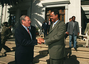 Isaias Afwerki - President Isaias Afewerki with U.S. Secretary of Defense Donald Rumsfeld, December 2002