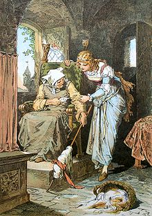 Sleeping Beauty is shown a spindle by the old woman. Sleeping Beauty, by Alexander Zick (1845–1907)