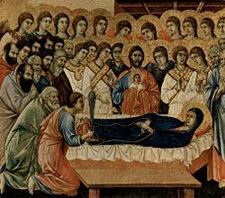A Dormição de Maria, por Duccio di Buoninsegna, 1308, Museo dell'Opera del Duomo, Siena.