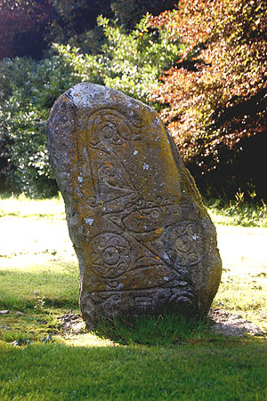 Dunnichen Stone - Replica of the Dunnichen Stone, at Dunnichen Parish Church