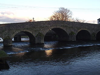 Durrow, County Laois - The old bridge over river Erkina. In the outskirts of Durrow.