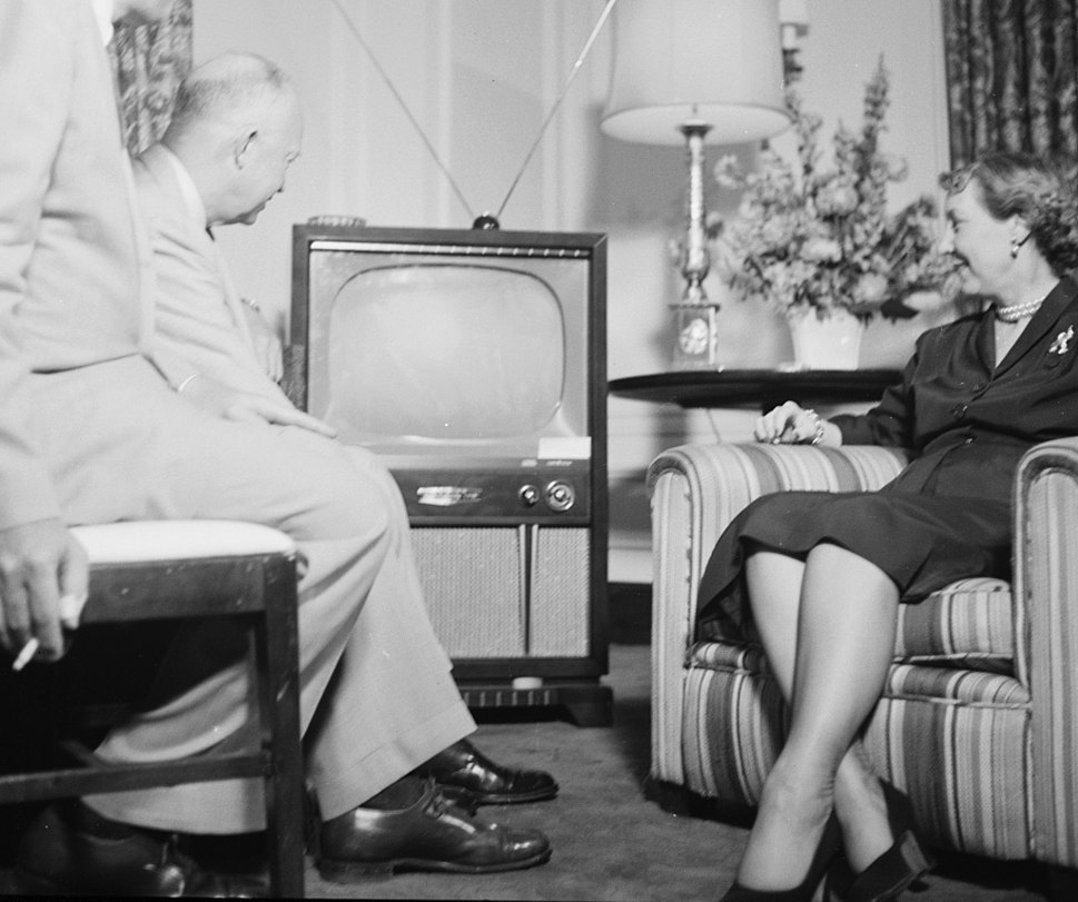 Dwight and Mamie Eisenhower watching a television during the Republican National Convention, Chicago, Illinois (cropped1)
