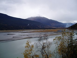 Taiya River - A picture of the Taiya River estuary from the Dyea Road.